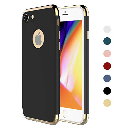 RORSOU iPhone 8 Case,iPhone 7 Case, 3 in 1 Ultra Thin and Slim Hard Case Coated Non Slip Matte Surface with Electroplate Frame for Apple iPhone 7 (4.7') and iPhone 8 (4.7') - Black and Gold