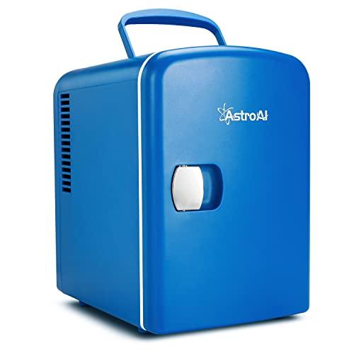 AstroAI 4L Mini Nevera Cosmeticos Pequeña Portátil 12 V/220 V para Coche y Casa, Tanto en Frío Como en Calor 0-66°C (Azul oscuro)