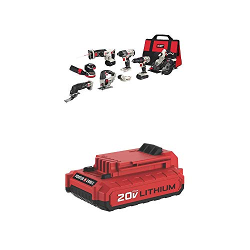PORTER-CABLE PCCK6118 20V MAX Lithium Ion 8-Tool Combo Kit with PCC682L 20V MAX 2.0 Amp Hour Battery