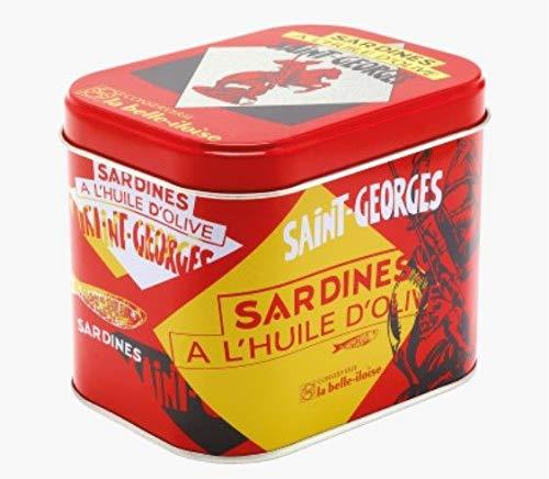 Geschenkbox Sardinen Saint-Georges, Schmuckdose mit 4 Dosen Sardinen aus der Bretagne