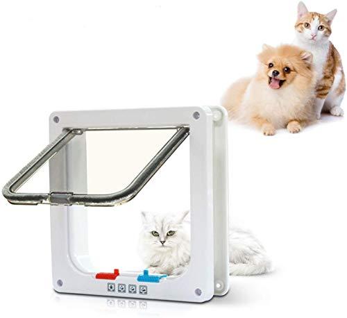 PetsN'all Puerta para Mascotas con 4 Cerraduras Diferente Para Gatos y Perros Pequeños – Para Adentro/Afuera con Marco Blanco