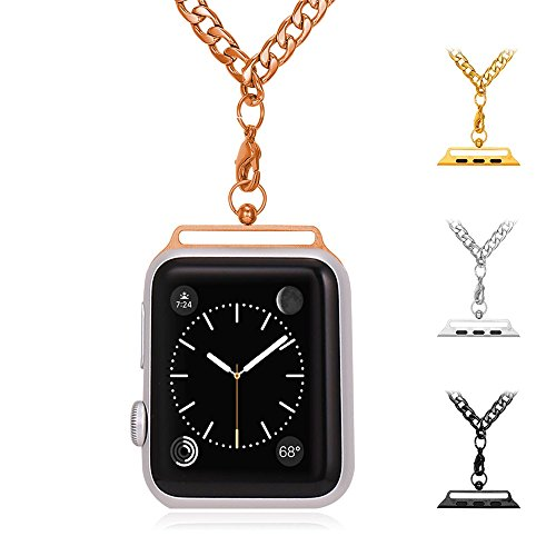 bandmax Necklace for Apple Watch 38MM, Fashion Replacement Rose Gold Plated Stainless Steel Cuban Link Chain Necklace Strap for iWatch Series 2/Series 1 all Versions (Rose Gold)