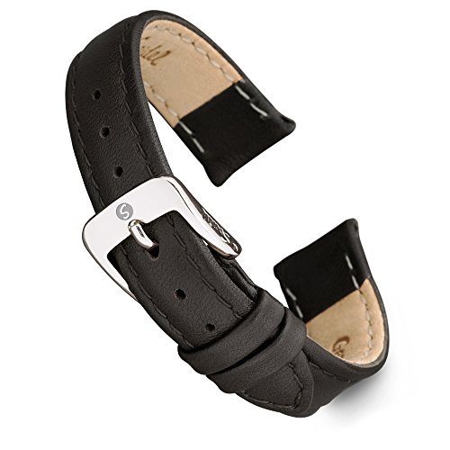 Speidel Genuine Leather Ladies Watch Band Black Brown White Stitched Calf Skin Replacement Strap,Stainless Metal Buckle,Watchband Fits Most Watch Brands (10mm-18mm) (18mm, Black w/Silver Buckle)