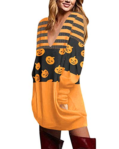ZANZEA Mujer Jersey Tallas Grandes Vestidos Sudadera Halloween Cuello V Manga Larga Casual Suéter Suelta Camiseta 04-Calabaza Raya XL