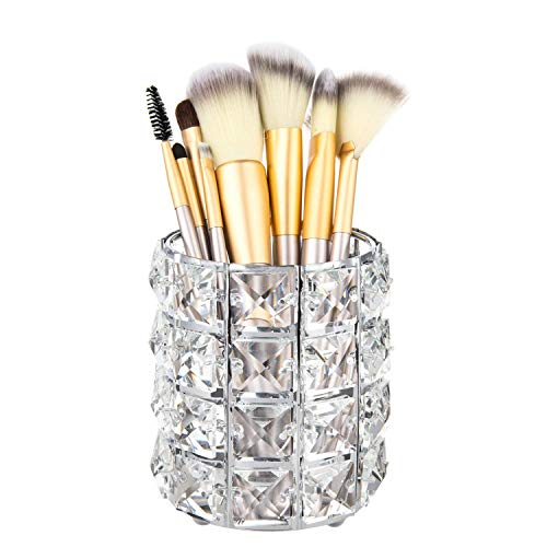 Volwco Porte-pinceaux de Maquillage en Métal avec Cristal pour Bougies, Stylos, Crayons, Brosse