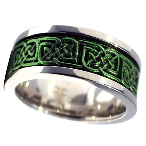 Fantasy Forge Jewelry Green Celtic Spinner Ring Stainless Steel 8mm Comfort Fit Wedding Band Handfasting Size 15