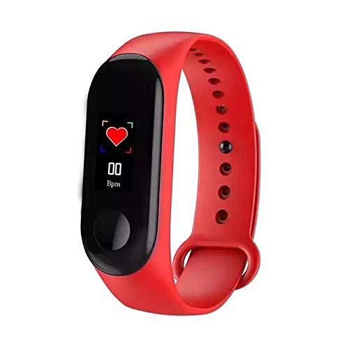 Pulsera de fitness M3 con pulsómetro, resistente al agua IP67, pulsómetro, rastreador de actividad, podómetro, reloj, reloj, hombre, mujer, niños, smartwatch llamada, aviso (rojo)