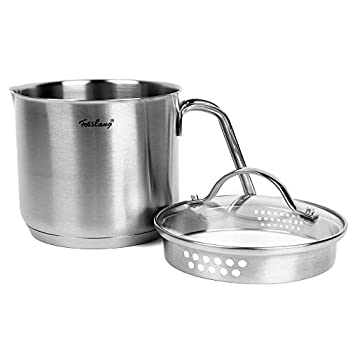 1.5 Quart Stainless Steel Saucepan With Pour Spout Fosslang Saucepan with Glass Lid 6 Cups Burner Pot With Spout - for Boiling Milk Sauce Gravies Pasta Noodles
