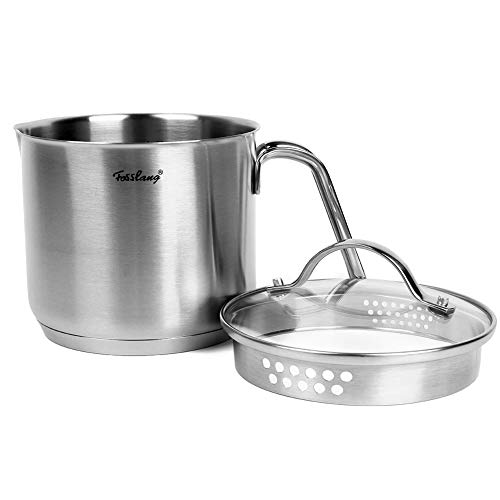 1.5 Quart Stainless Steel Saucepan With Pour Spout, Fosslang Saucepan with Glass Lid, 6 Cups Burner Pot With Spout - for Boiling Milk, Sauce, Gravies, Pasta, Noodles