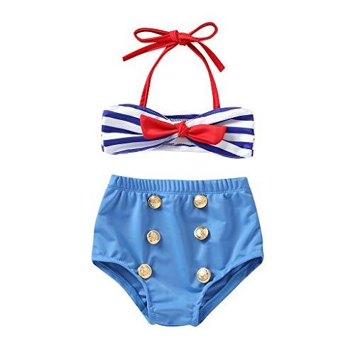 Jimmackey- Bambina Neonato Costume Bikini 7 Pezzi con Volant Mare Piscina Costume da Bagno Cinghie Bowknot Bikini a Due Pezzi Abbigliamento
