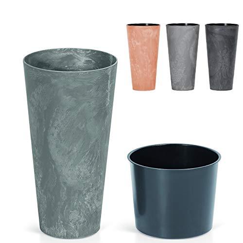 Blumenkübel Blumentopf Pflanzkübel Übertopf Beton-Optik oder Corten-Optik mit Einsatz Slim Vase Pflanztopf Beton Design (300 Anthrazit)