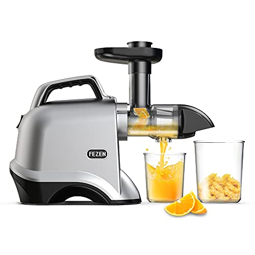 Slow Juicer, FEZEN Juicer Machines Vegetable and Fruit, Cold Press Juicer with Quiet Motor, Slow Masticating juicers Easy to Clean, 90% Juice Yield & Purest Juice