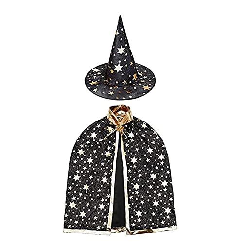 NC Deguisement Halloween Enfant, Halloween Costume Enfant Chapeau de Magicien et Manteau de Sorcière pour Fille Garçon Cosplay Fête du Festival Style Etoile(Noir)