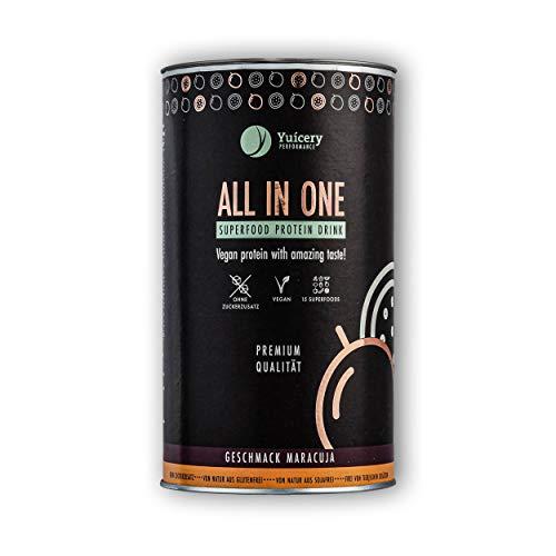 Vegan Protein   Pflanzliches Eiweißpulver mit ausgezeichnetem Geschmack & Superfoods   Gut verträglich, laktosefrei   Premium All in One Proteinpulver 450gr – Maracuja