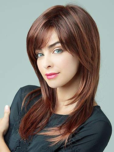 Serena Wig Color Marble Brown-R - Noriko Wigs 13' Long Shag Razored Layered Synthetic Hair Avg Cap Orchid Collection Short Fringe Bundle MaxWigs Hairloss Booklet