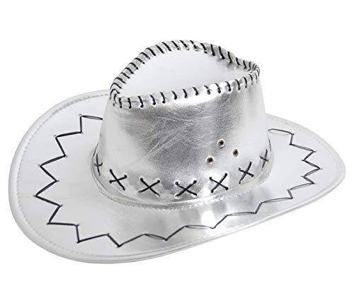 Alsino Cowboyhut Silber Westernhut Damen Karneval Fasching Hut Cowgirl Verkleidung Kostüm - Wildlederoptik