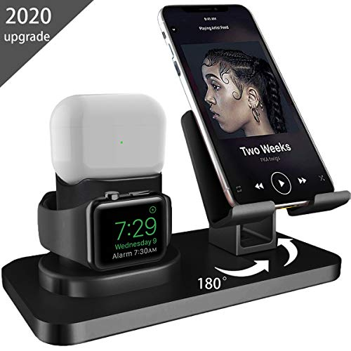 AICase 3 in 1 Dock Supporto per iPhone e A pple iWatch e Airpods, Dock per Caricabatterie Airpods PRO, Supporto Tablet per Desktop per Airpods,iWatch(5/4/3/2/1) (Nero)
