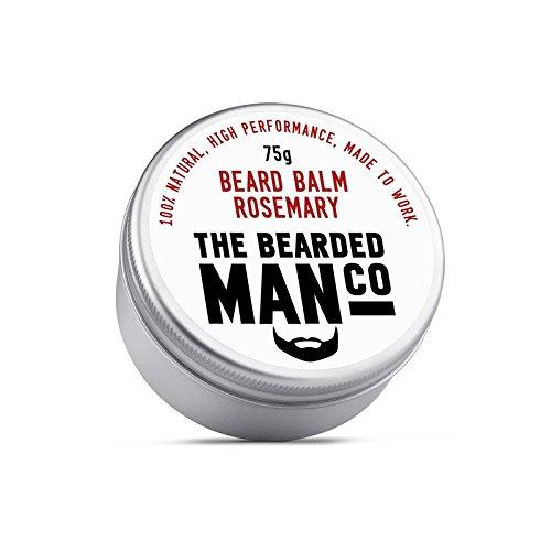 The Bearded Man Company Bálsamo para barba 30 g – 25 aromas diferentes para elegir nuevo todo natural dejar en acondicionador para hombres. 75 g lata (romero)