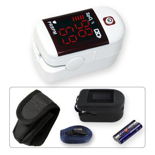MD300C11 Fingerpulsoximeter LED Display inkl. Silikonprotector, Nylontasche, 2 Stk. AAA Batterien und Trageband * Farbe: weiß
