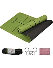 INSAT Yogamat Non-slip, Gymnastics Mat, Sports Mat Non-Slip and Durable, TPE Recyclable Materials, Dimensions 183 x 61 x 0.5 cm, With Carrying Strap and Storage Bag