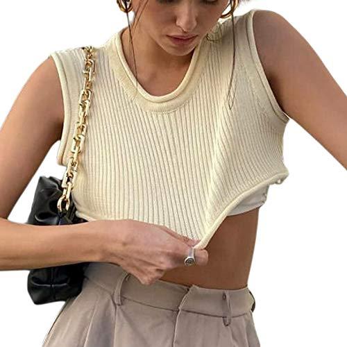 Las mujeres de punto sin mangas acanaladas Crop Top Verano Camisola Básica Blusa Streetwear