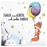 Little Deco Wandtattoo Fuchs & Spruch Fliege zum Glück I A4-21 x 29,7 cm I Luftballons Wandbilder Kinderzimmer Deko Babyzimmer Junge Wandsticker Kinder DL163