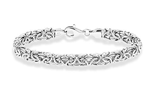Miabella 925 Sterling Silver Italian Byzantine Bracelet for Women 6.5, 7, 7.5, 8 Inch Handmade in Italy (8.0 Inches)