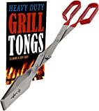 Grill Tongs - Heavy Duty Barbecue Grilling Tong w Red PVC Handle - Long Stainless Steel BB...