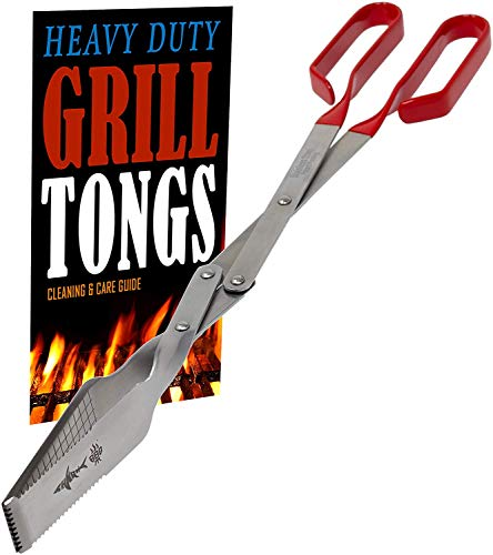 Grill Tongs - Heavy Duty Barbecue Grilling Tong w Red PVC Handle - Long Stainless Steel BBQ Tool - Wide...