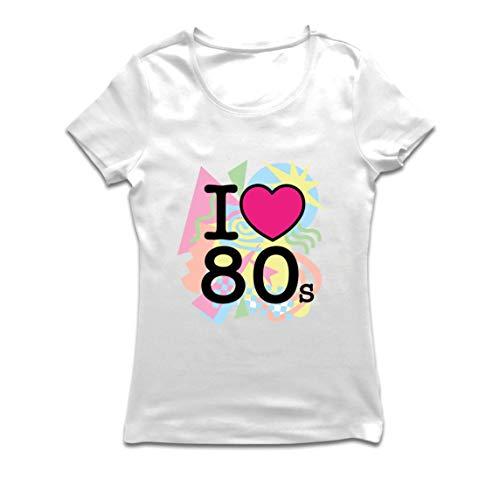 lepni.me Frauen T-Shirt Ich Liebe 80er Jahre alte Rockband, Rock and Roll (Medium Weiß Mehrfarben)