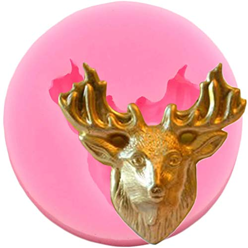 ZPZZPY Elk Deer Head Silicone Molds Christmas Cupcake Topper Fondant Cake Decorating Tools Jewelry Resin Candy Chocolate Gumpaste Mould