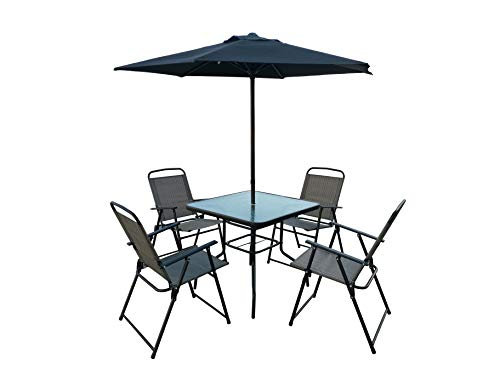 Homewell Outdoor Dining Furniture Set for Patio, Back Yard, Deck, Bistro (Grey) (Table + 4 Chairs + Umbrella)