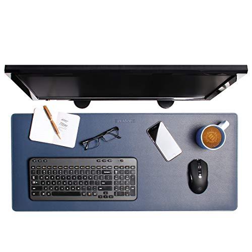ENHANCE PU-Leder-Mauspad - Schreibtischmattenschutz aus Kunstleder, Extra Groß - Wasser- und Schmutzabweisend, rutschfest und mit Genähten Kanten - Toller Schreibtisch und Wohnaccessoire (Blau)