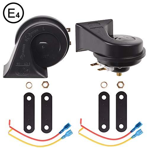 Evermotor Universal Twin Dual Tone Lautes Horn Hupe Set für Autos und Motorräder 12V 400/500 Hz 118 db (2 set)