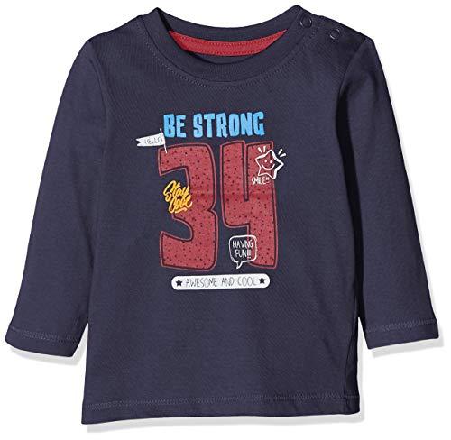 Blue Seven Baby-Jungen Mini Langarmshirt mit Schriftzug Sweatshirt, Blau (Dk Blau Orig 574), (Herstellergröße: 68)