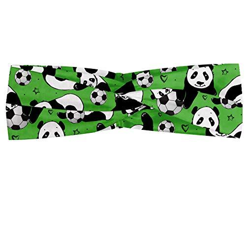 ABAKUHAUS Football Bandeau, Funny Animals Panda Jouer avec des boules coeurs Hand Drawn style et étoiles, Serre-tête Féminin Élastique et Doux pour Sp