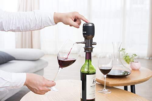 NEOLIFE Vinaera PRO V2 - Elektrischer Weinbelüfter/-Spender - dreistufige Einstellung - Elektronischer Weindekanter - Weinflaschenverschluss, grau/schwarz