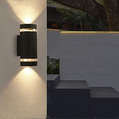 Lámpara LED para exteriores IP55 Foco de pared a prueba de agua Foco exterior con haz de luz hacia arriba y hacia abajo Iluminación de pared 12W 3000K Blanco cálido Apliques negros modernos