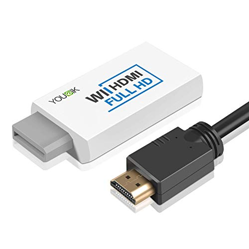 Wii naar HDMI Converter – Younik Wii HDMI Converter Output Video Audio Adapter met HDMI-kabel voor Nintendo Wii, ondersteunt alle Wii-weergavemodi (NTSC 480I, 480P,PAL 576I)