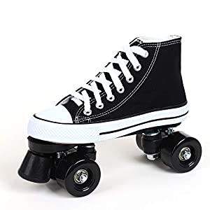 Patines De Ruedas Para Mujer Botas Patines 4 Ruedas Hombre Adulto Zapatos De Patinaje Led Patines Para Niños Niñas Diseño Retro,Black-43