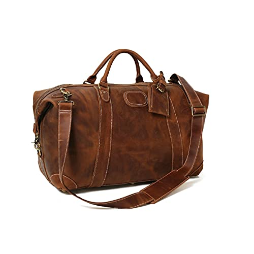 Leather Duffel Bag for Men Full Grain Leather Weekender Travel Duffle Bag Overnight Travel Carry-on...