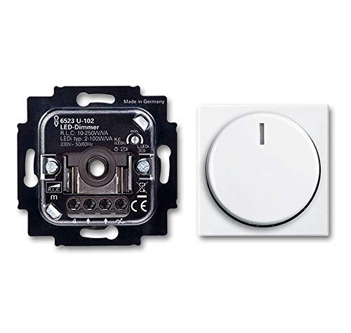 BUSCH-JÄGER, LED-Drehdimmer (LED Dimmer) 6523 U-102 mit Dimmerscheibe Zentralscheibe 2115-914 in Balance Si alpinweiß (6523U 102) 6523U102