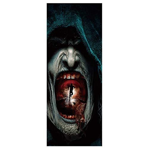 ZHANSANFM 2 Pcs Halloween Deko Skull Zombie Türaufkleber 3D Horror Muster Wandtattoo Wasserdicht Wandaufkleber Hintergrund Wandsticker Home Party DIY Aufkleber Dekoration B, 38.5 x 200cm x 2pc