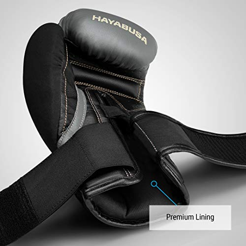 Hayabusa T3 Boxing Gloves for Men and Women - Charcoal/Black, 16oz