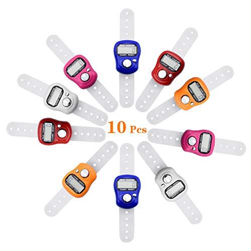 COCOCITY 10 Stück Elektronischer Fingerzähler Reihenzähler, Digit LCD Mengenzähler Hand Tally Handzähler(unterschiedliche Farbe)