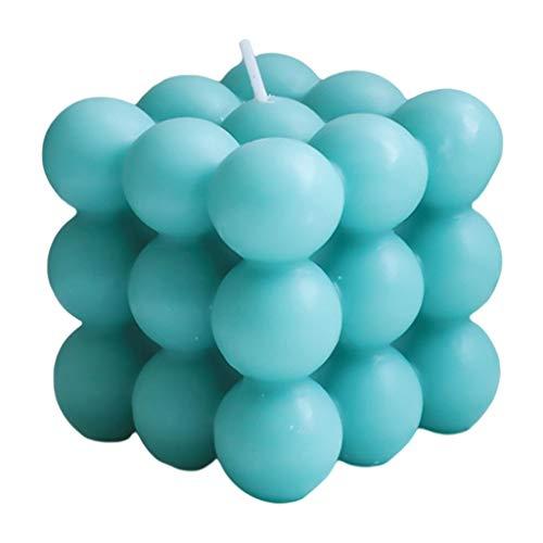 Fenteer Bolla Cubo Candela di Cera di Soia Rilassante Regalo di Compleanno Nordic Home Office Decor da Dessert Candela - Blu