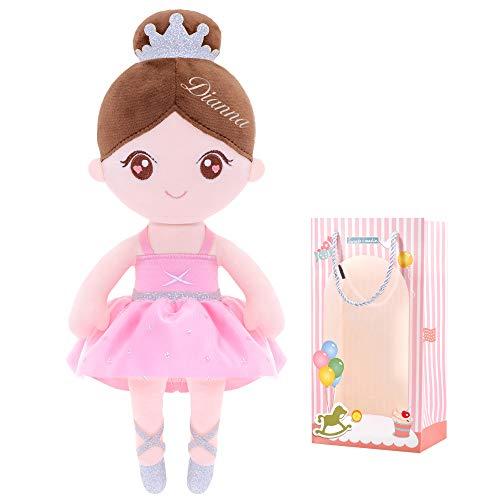 Gloveleya Muñeca de trapo personalizada para niña, juguete de peluche, muñecas suaves, regalos para bebé, ballet, niña, color rosa claro sobre 0 años de edad