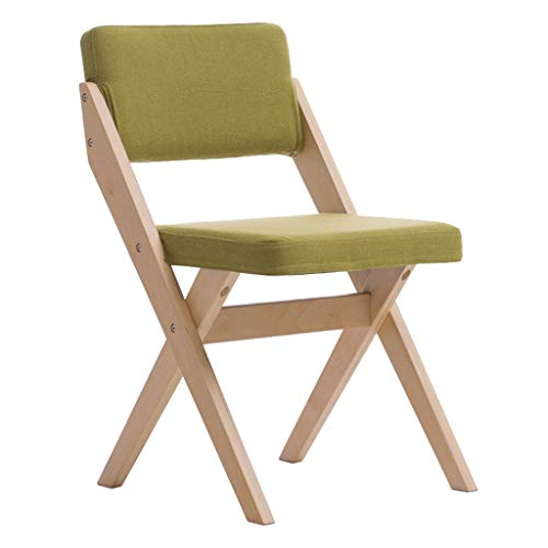 La Mode Chaise Pliante Dossier en Bois Massif Meuble De Bureau Mobilier De Bureau Chaise De Salle À Manger Chaise De Réception pour Discussion, Coussin Vert