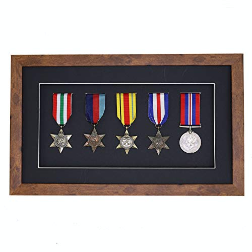 3d Deep Box Frame To Display War/Military/Sports Medals Black White Grey Oak-5 Medals-Medium Distressed Oak Frame With Black Mount