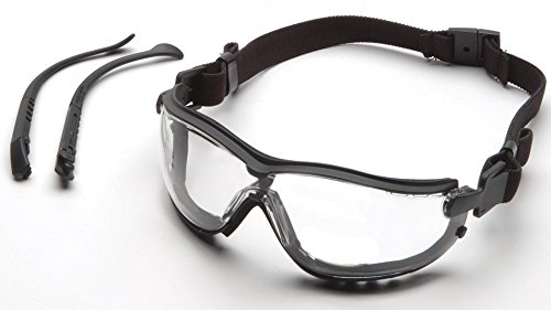 Pyramex V2G Safety Glasses, Black Frame/Clear Anti-Fog Lens